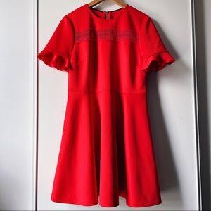 Ted Baker red short flounce sleeve skater dress